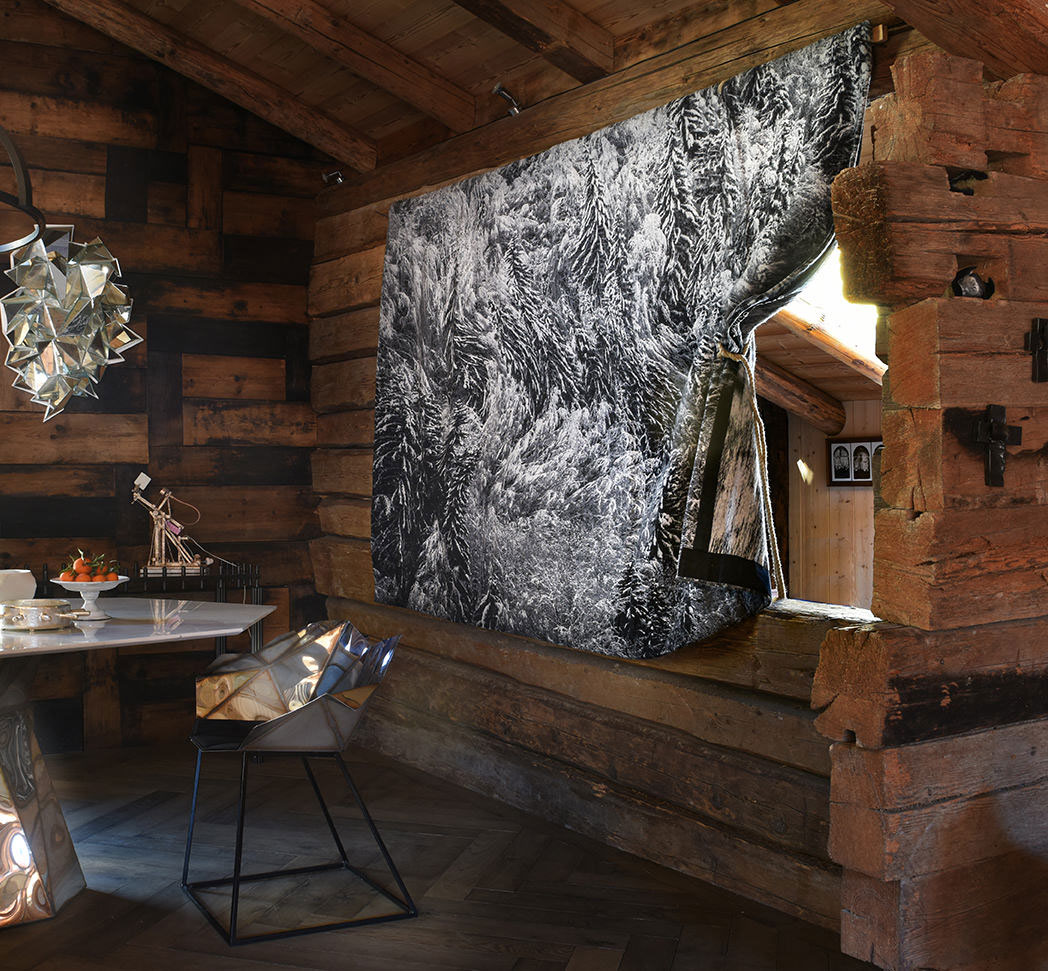Awesome scenery of a mountain chalets interior design