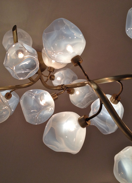 interior architect interior design hospitality retail: Ceiling lamp made of hand-blown glass balls