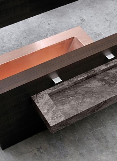 interior architect interior design hospitality retail: Washbasin of Tarquinia stone